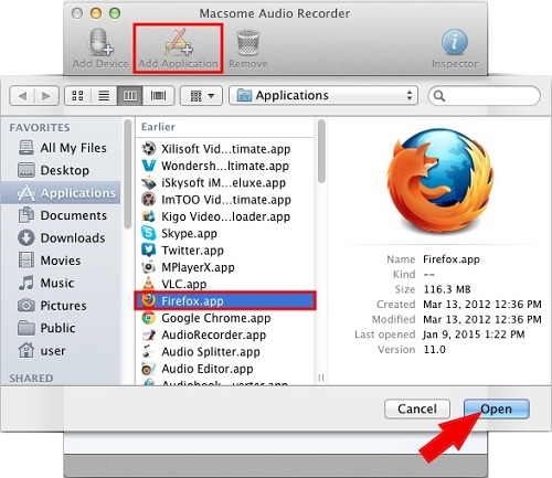 Add Firefox App to record