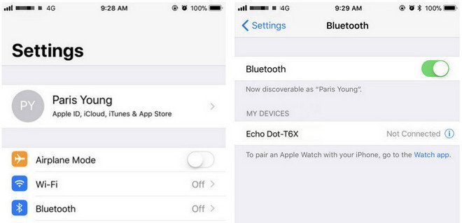 Open Bluetooth on iPhone